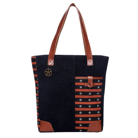 Black Color Washed Cotton Canvas And Buff Leather Womens Tote - OT42900TB