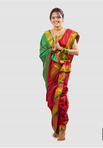 Red and Green Color ArtSilk Saree - PAITANI001
