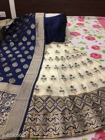 BLUE FLO- WHITE Color Banarashi silk dyeing material  Lehenga - PAN--03