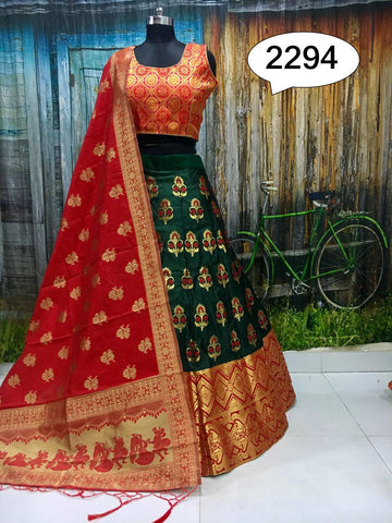 RED  D- GREEN Color Banarashi silk dyeing material  Lehenga - PAN-01