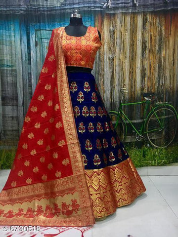 RED D - BLUE Color Banarashi silk dyeing material  Lehenga - PAN-02