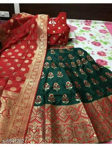 RED GOLA-GREEN Color Banarashi silk dyeing material  Lehenga - PAN-04