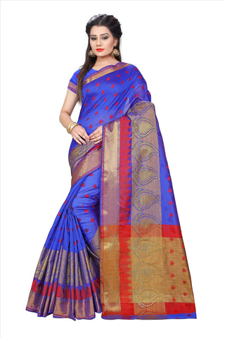 Blue Color Poly Cotton Saree - PARI500-BLUE