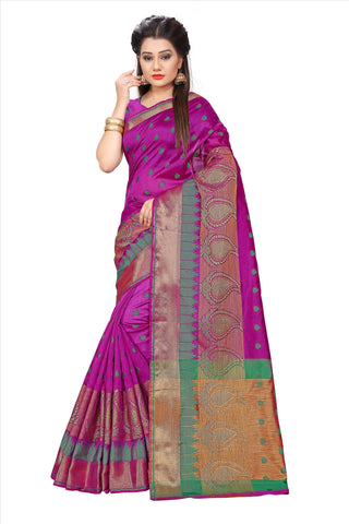 Purple Color Poly Cotton Saree - PARI500-PURPLE