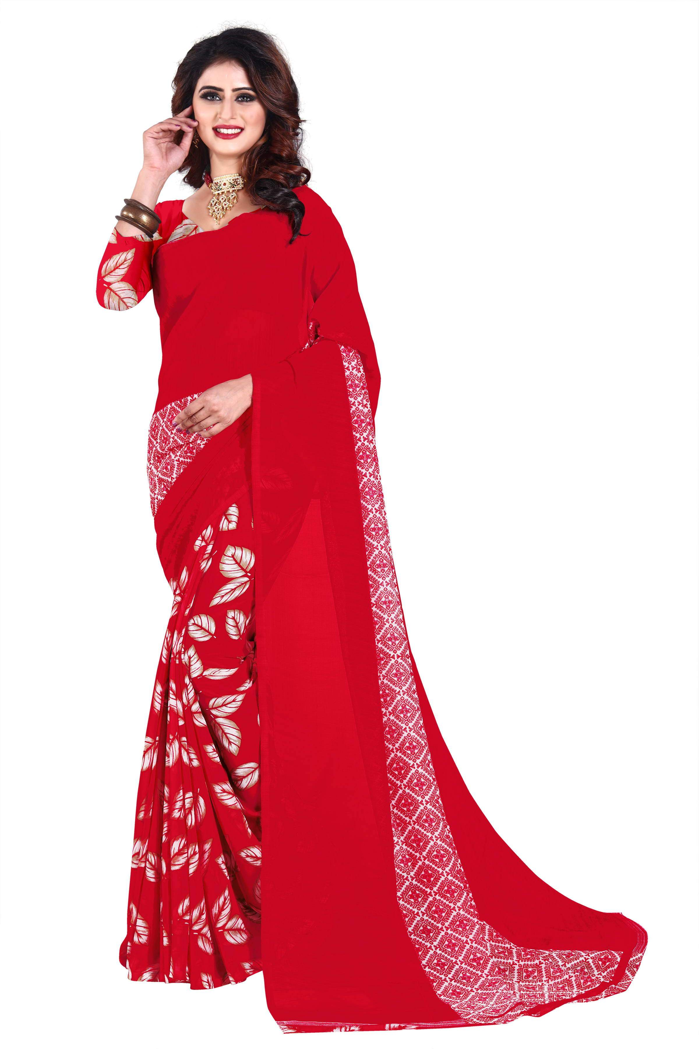 7bb759801a Buy Red Color Dani Georgette Saree | Zinnga