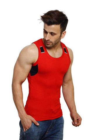 Red Color Premium Cotton Men's Vest - PAYAL-MV1P-13
