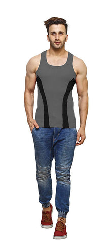 Grey Color Premium Cotton Men's Vest - PAYAL-MV1P-19