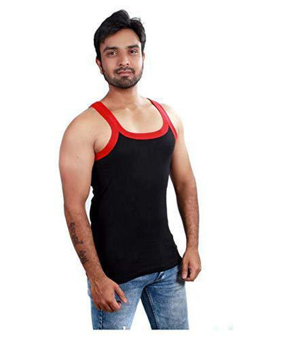 Black Color Premium Cotton Men's Vest - PAYAL-MV1P-1