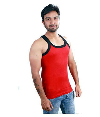 Red Color Premium Cotton Men's Vest - PAYAL-MV1P-2