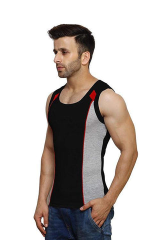 Black Color Premium Cotton Men's Vest - PAYAL-MV1P-7
