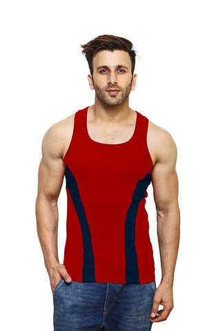 Red Color Premium Cotton Men's Vest - PAYAL-MV1P-8
