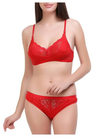 Red color Cotton Women's Lingerie Set - PAYAL-PNBPS-10