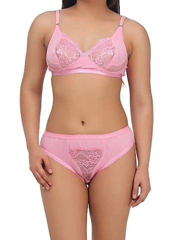 Pink color Cotton Women's Lingerie Set - PAYAL-PNBPS-11
