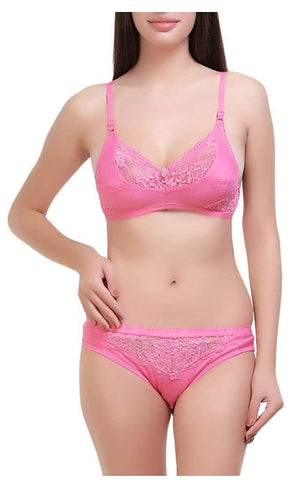 Pink color Cotton Women's Lingerie Set - PAYAL-PNBPS-13