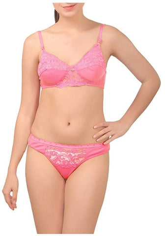 Pink color Cotton Women's Lingerie Set - PAYAL-PNBPS-14