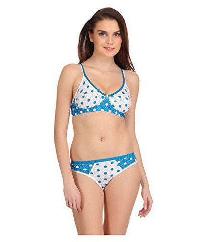 White Blue color Cotton Women's Lingerie Set - PAYAL-PNBPS-1