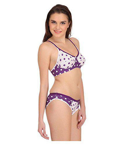 White Purple color Cotton Women's Lingerie Set - PAYAL-PNBPS-3