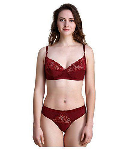 Maroon color Cotton Women's Lingerie Set - PAYAL-PNBPS-4