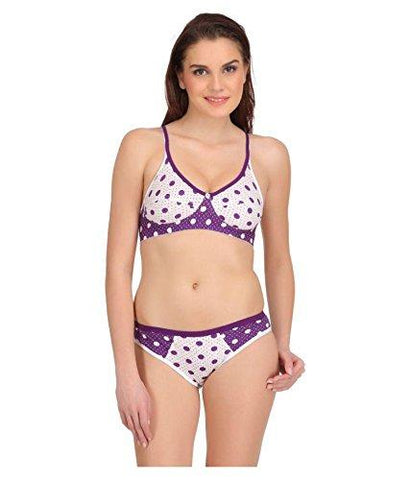 White Purple color Cotton Women's Lingerie Set - PAYAL-PNBPS-7