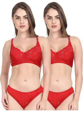 Multi color Cotton Women's 2 Piece Lingerie Set - PAYAL-PNBPS2-3