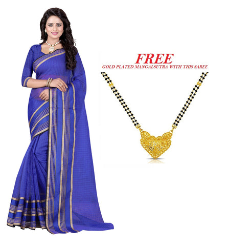 Violet Color Poly Cotton Saree  - PC-236