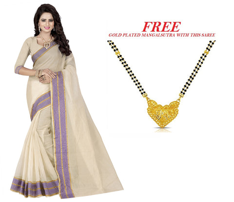 Cream and Violet Color Poly Cotton Saree  - PC-249