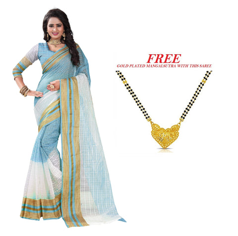White and SkyBlue Color Poly Cotton Saree  - PC-275