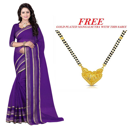 Dark Violet Color Poly Cotton Saree  - PC-308