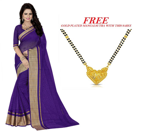 Light Violet Color Poly Cotton Saree  - PC-309