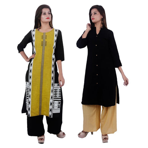 COMBOS-Cotton Stitched Kurtis  - PC-D-53-FB-Black