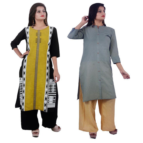 COMBOS-Cotton Stitched Kurtis  - PC-D-53-FB-Grey