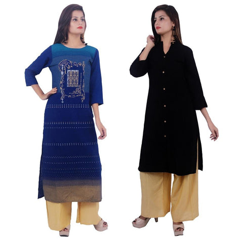 COMBOS-Cotton Stitched Kurtis  - PC-D-56-FB-Black