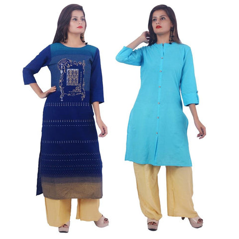 COMBOS-Cotton Stitched Kurtis  - PC-D-56-FB-Light-Blue