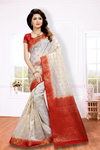 Cream Color Silk Blend Saree - PCRM102