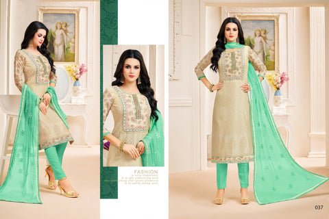 Beige Color Chanderi Silk UnStitched Salwar  - PDMN037