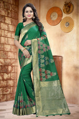 Buy Green Color Lilen Saree