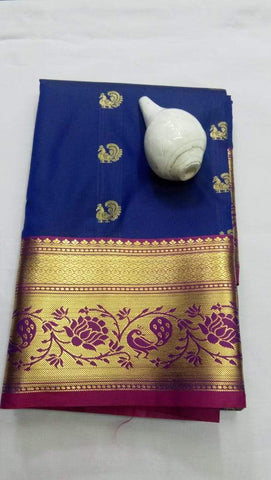 Blue and Maroon Color ArtSilk Saree - PECOCKBLUE001