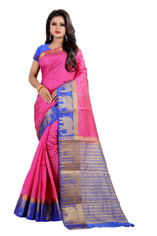 Pink Color Kanjivaram Silk Saree - PF252