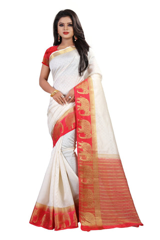 White Color Kanjivaram Silk Saree - PF253