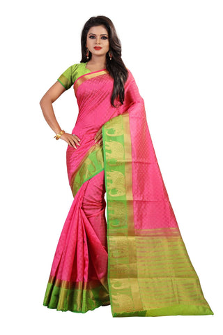 Rose Red Color Kanjivaram Silk Saree - PF254