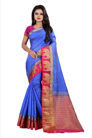 Blue Color Kanjivaram Silk Saree - PF256