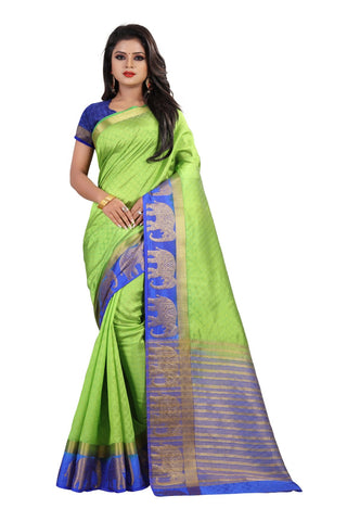 Parrot Green Color Kanjivaram Silk Saree - PF257