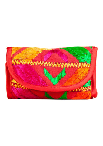 Red  with Multi Color Silk Thread  Wallet - PH004