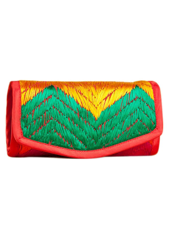 Red  with Multi Color Silk Thread  Wallet - PH005