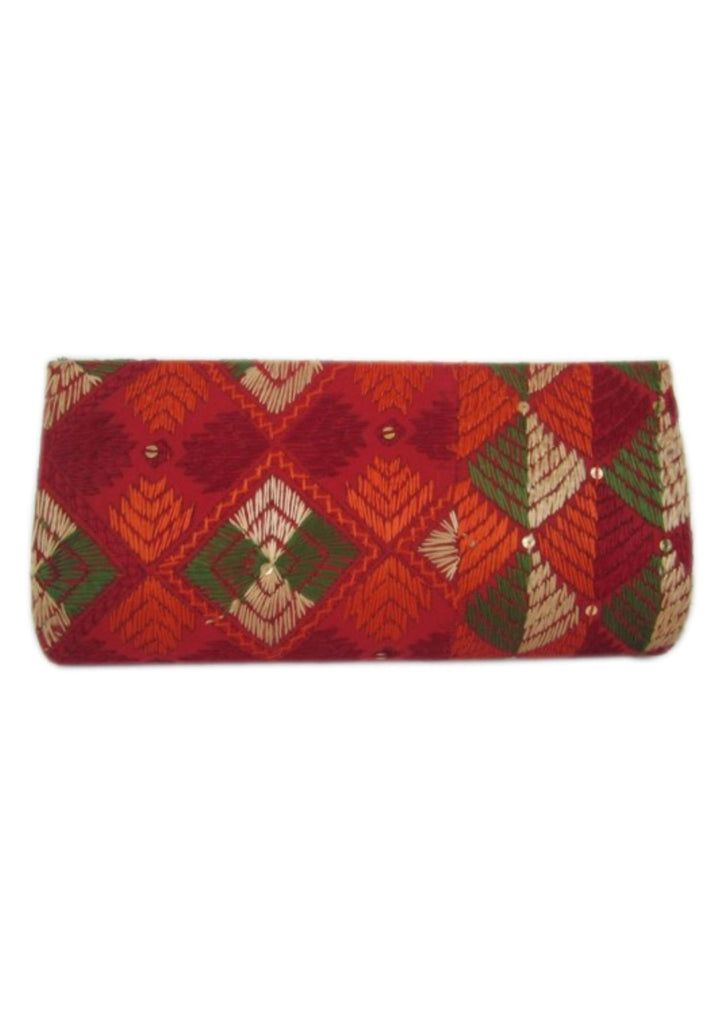 Red  with Multi Color Silk Thread  Wallet