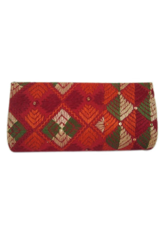 Red  with Multi Color Silk Thread  Wallet - PH008