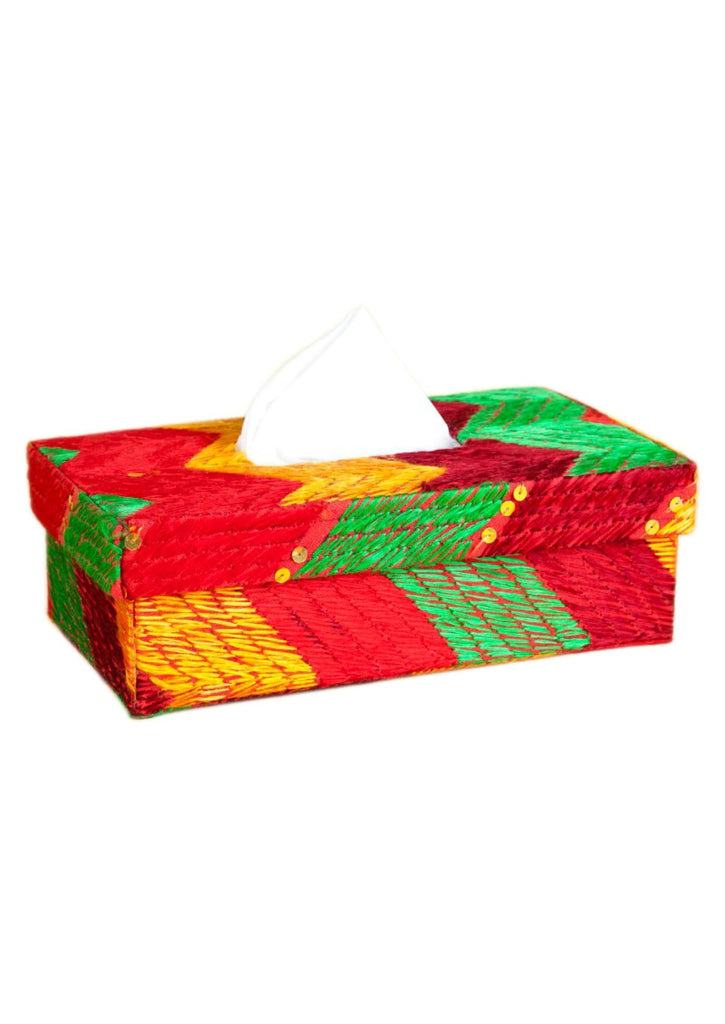Red  with Multi Color Silk Thread Tissue Box