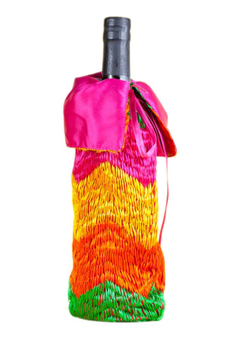 Red  with Multi Color Satin Bottle Cover - PH011