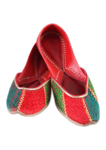 Red  with Multi Color Leather Shoes - PH014