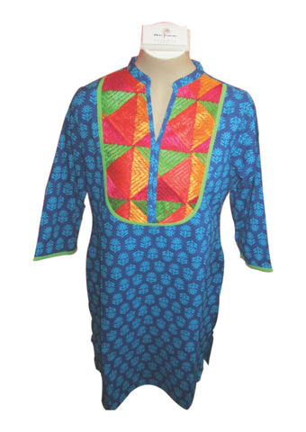 Indigo Blue with Multi Color Cotton Top - PH017